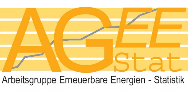 gelb-weißes Logo mit dem Schriftzug Arbeitsgruppe Erneuerbare Energien-Statistik (AGEE-Stat), im Hintergrund ein stilisiertes Kurvendiagramm