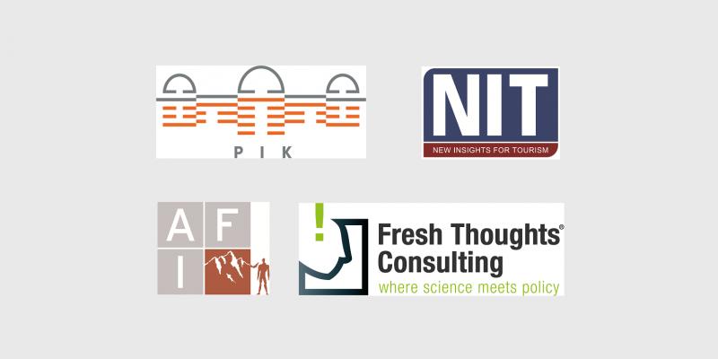 Logos der vier Organisationen Potsdam Institut für Klimafolgenforschung (PIK), Institut für Tourismus- und Bäderforschung in Nordeuropa GmbH (NIT), Alpenforschungsinstitut GmbH (AFI), Fresh-Thoughts-Consulting GmbH