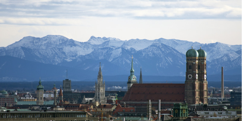 city center of Munich, in the background the Alps