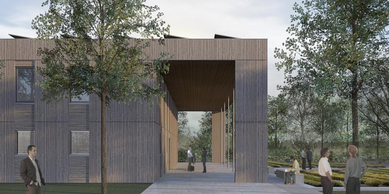 Computersimulation eines zweigeschossigen, quadratischen Holzbaus mit Flachdach und Kollonaden
