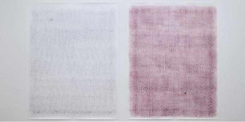 An einer weißen Wand sind zwei große, rechteckige Papiere mit Pinnadeln befestigt, das eine weiß-grau und das andere weiß-rot-grau schattiert. Auf beiden ist unauffällig ein kleines Objekt im dem Hintergrund ähnlichem Farbton befestigt.