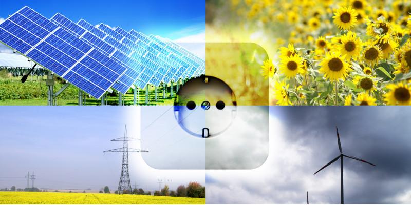 Collage: Solarpark, Sonnenblumenfeld, Windkraftanlagen und Rapsfeld mit Energiefreileitung, in der Mitt eine Steckdose