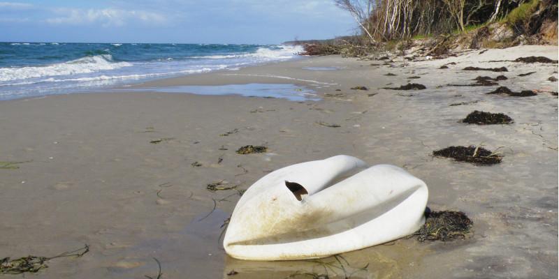 kaputter weißer Gymnastikball liegt, ähnlich einem Schwan, an einem Sandstrand am Meer