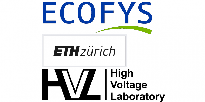 Logos der drei Organisationen Ecofys, High Voltage Laboratory und ETH Zürich