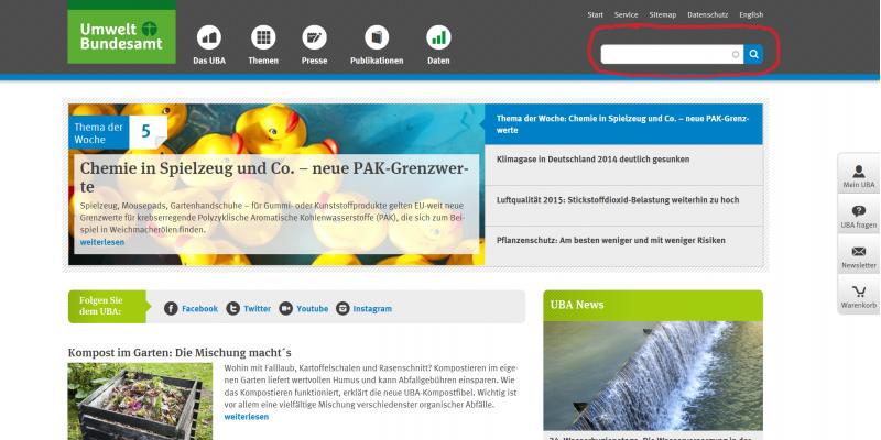 Screenshot der UBA-Website, rot umrandet das Suchfeld