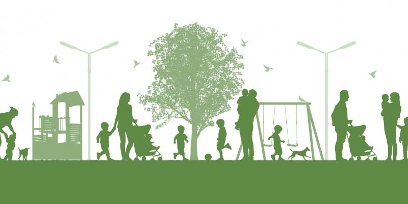grün-weißes Piktogramm einer Grünanlage in der Stadt mit Bäumen, Spielgeräten und Familien mit Kindern