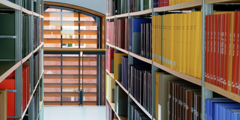 Bookshelves in red, yellow, blue and black