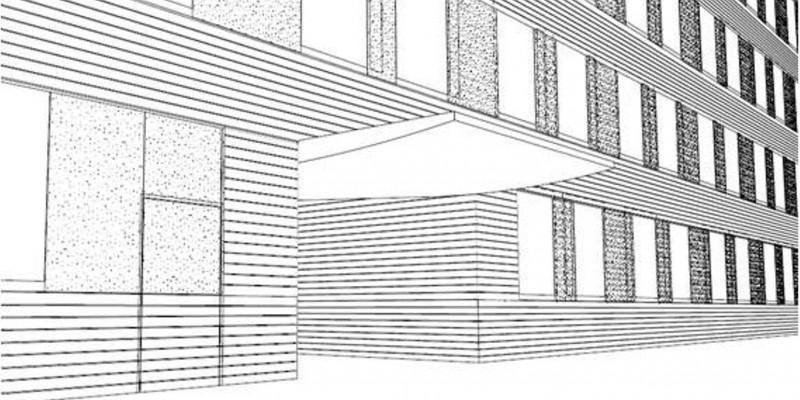 Zeichnung des UBA Dessau, ein Hintereingang wurde erweitert und mit einem Vordach versehen.