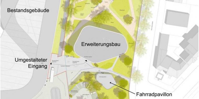 Lageplan: links das langgestreckte Bestandsgebäude, rechts der kleine Erweiterungsbau, darum eine Grünanlage mit Bäumen und Wegen, ein Fahrradpavillon und ein Parkplatz