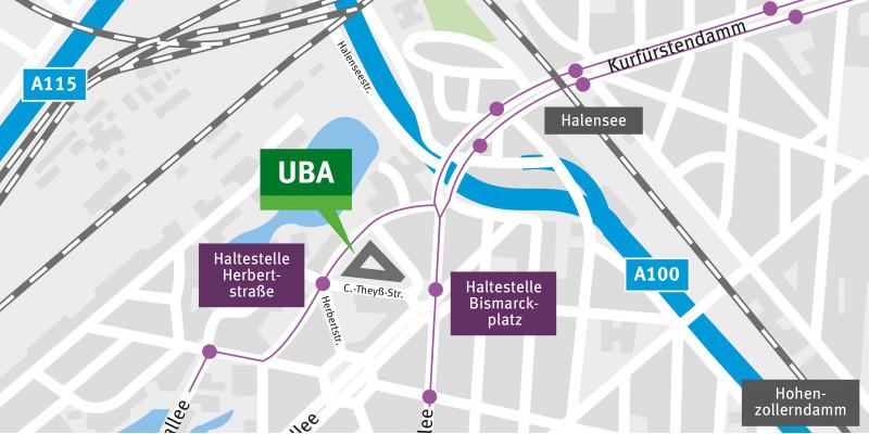 Der Kartenausschnitt zeigt die Lage des Gebäudes am Bismarckplatz.