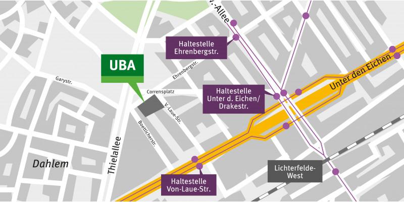 Der Kartenausschnitt zeigt die Lage des Gebäudes am Corrensplatz.
