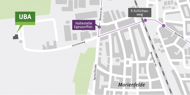Der Kartenausschnitt zeigt die Lage des Standortes Berlin-Marienfelde.