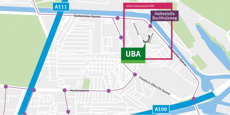 Der Kartenausschnitt zeigt die Lage des Gebäudes am Buchholzweg.