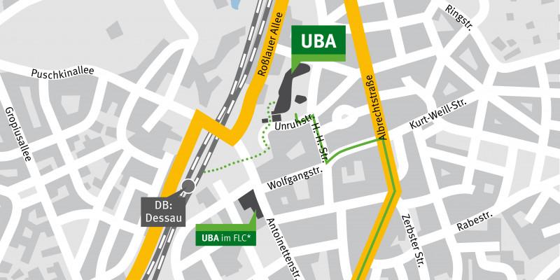 Der Stadtplanausschnitt zeigt die Lage des UBA-Hauptsitzes in Dessau Roßlau, nahe des Hauptbahnhofs Dessau
