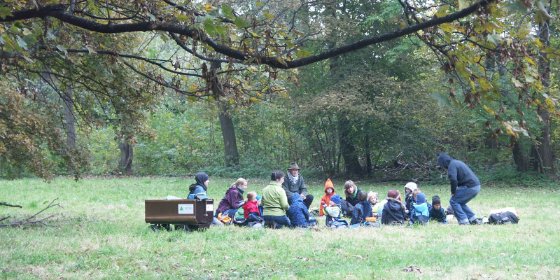 kindergarten group sitting on a meadow in a forest