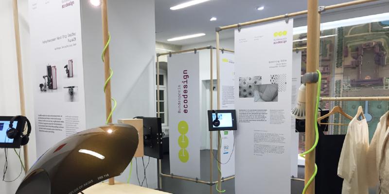 Ausstellung mit Exponaten und Schautafeln zum Bundespreis Ecodesign
