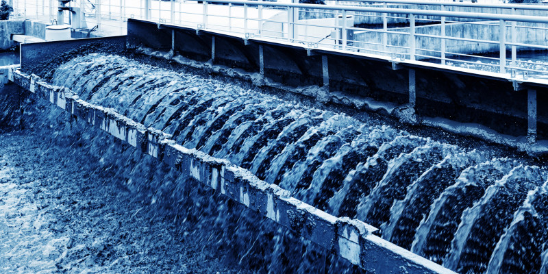 sludgy water in a facility for waste water treatment