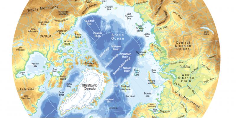 Grafik der Topografie und Bathymetrie der Arktis