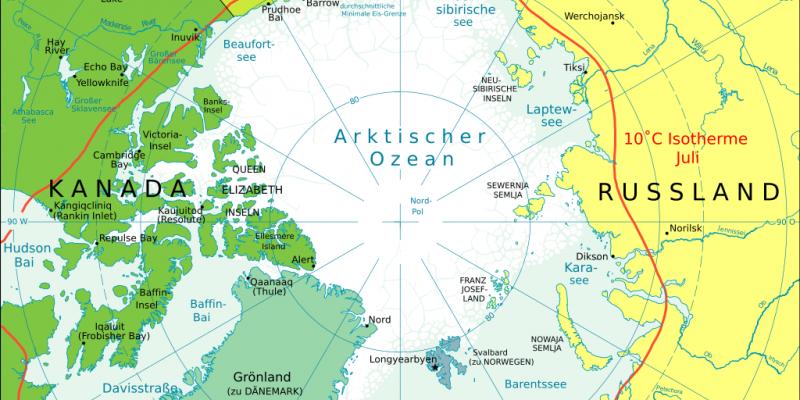 Politische Karte der Arktis