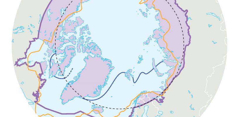 Karte Grenzlinien der Arktis
