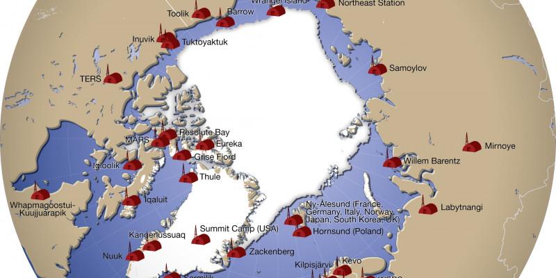 Kreisrunde Übersichtsgrafik über die Forschungsstationen in der Arktis