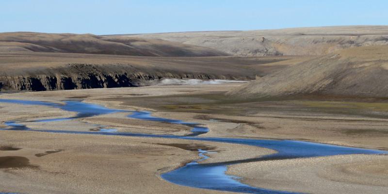 Ein Fluss schlängelt sich durch die karge arktische Landschaft.