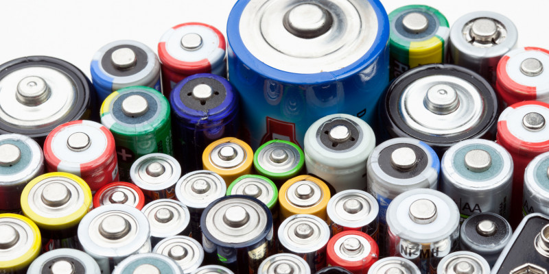 Batteries of different size and color