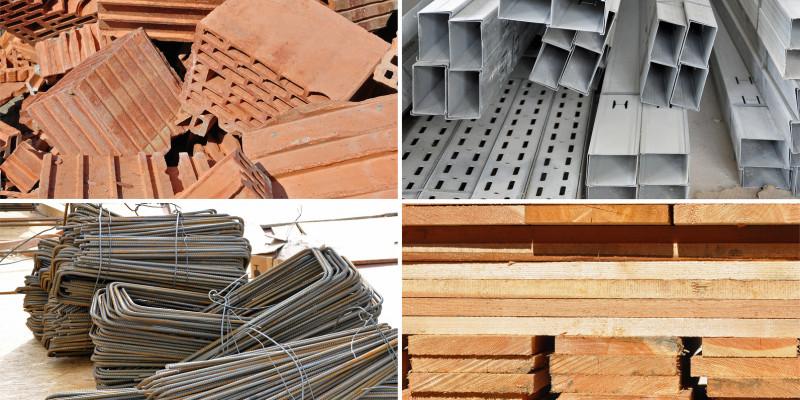 Vier verschiede Bauprodukte in einer Collage: Ziegel, Holzlatten, Stahlträger