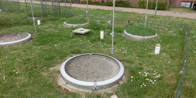 Eine Wiese mit mehreren runden Messbehältern