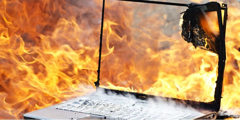 a burning laptop