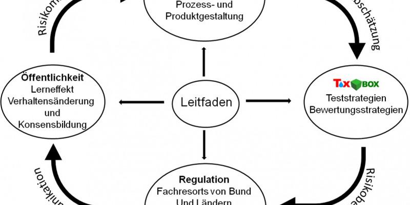 Schaubild: Regelkreislauf aus Gefährdungsabschätzung, Risikobewertung, Risikokommunikation und Risikomanagement mit dem Handlungsleitfaden als zentralem Bestandteil