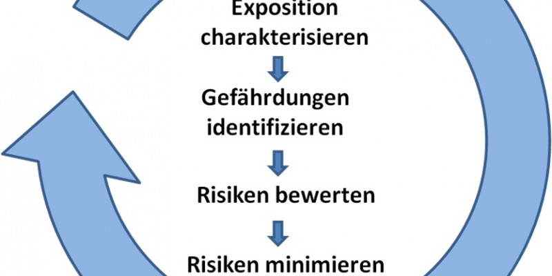 """Schamtische Darstellung: Kreislauf """"Vorsorge und Sicherheit"""" bestehend aus den Schritten Charakterisierung, Identifizierung, Bewertung und Minimierung"""