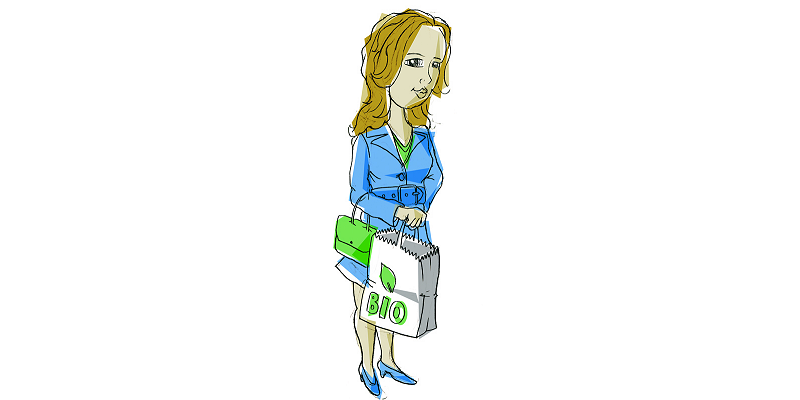 "drawing of a woman with a paper shopping bag with the inscription ""Bio"""