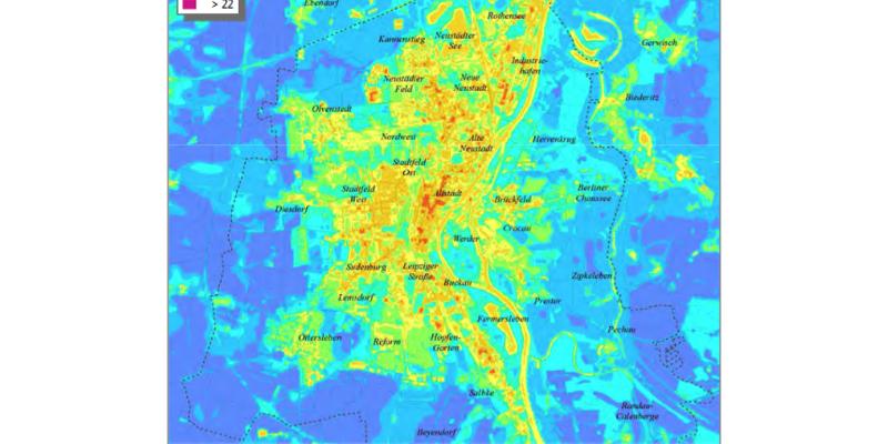 Klimafunktionskarte mit Temperaturfeldern um 4 Uhr morgens in der Stadt. Siehe: http://www.magdeburg.de/Start/B%C3%BCrger-Stadt/Leben-in-Magdeburg/Umwelt/Klimaschutzportal/Klimawandel/Klimawandel-Magdeburg