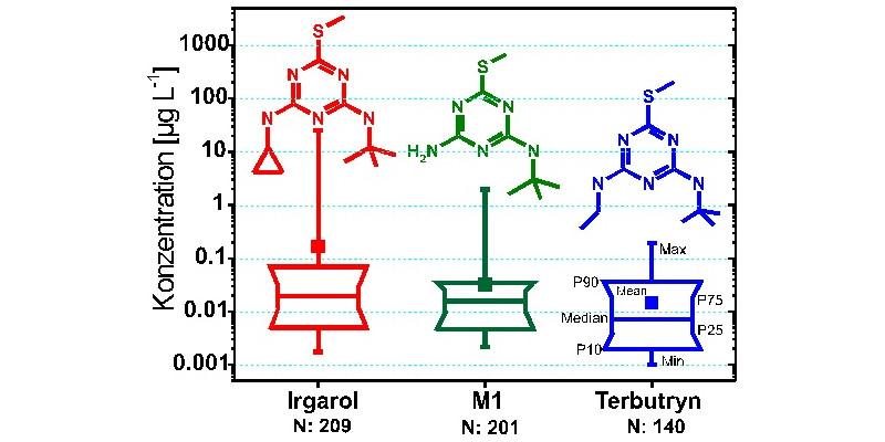 Konzentrationen von Irgarol, M1 und Terbutryn