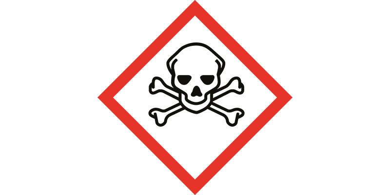 Rechteck mit Totenkopf dient als Gefahrenpiktogramm für Chemikalien