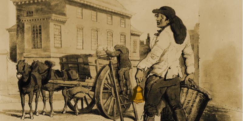 Altes Bild eines Mannes mit Korb und Glocke, der den Müll auf der Straße einsammelt.
