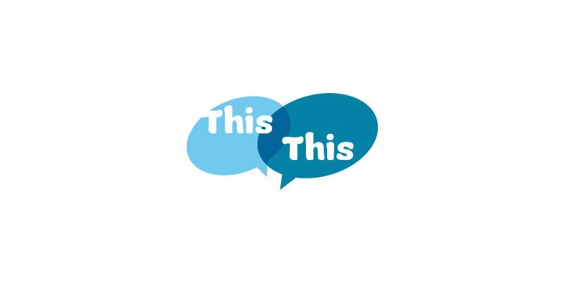 """Zwei blaue Sprechblasen, die beide das Wort """"This"""" enthalten"""
