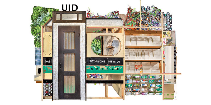 """Collage aus alten Möbeln und Zeitungen als """"logo"""" für das Utopische Institut"""
