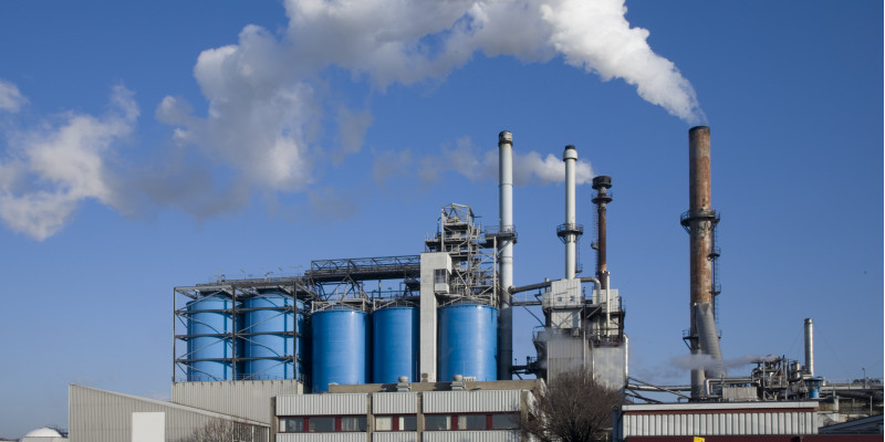 Smoking chimneys of an industrial plant