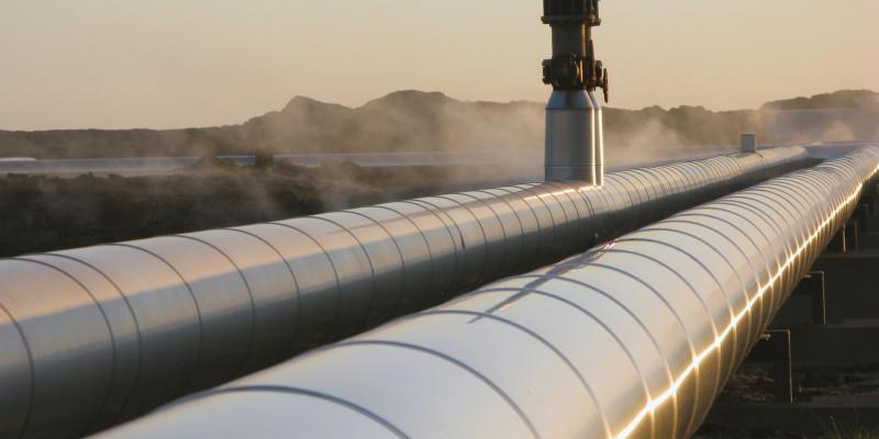 blanke Gasleitung mit Ventil