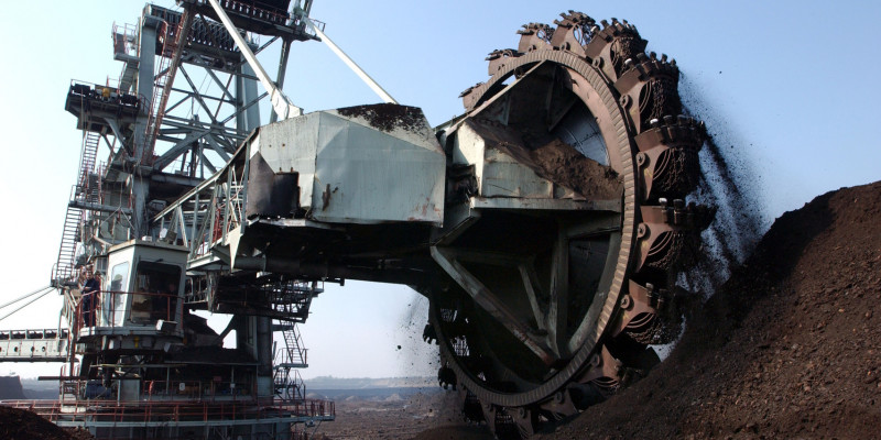 Excavators at work in an open pit