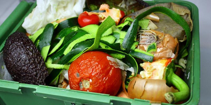 Obst und Gemüse sind in die Tonne geworfen