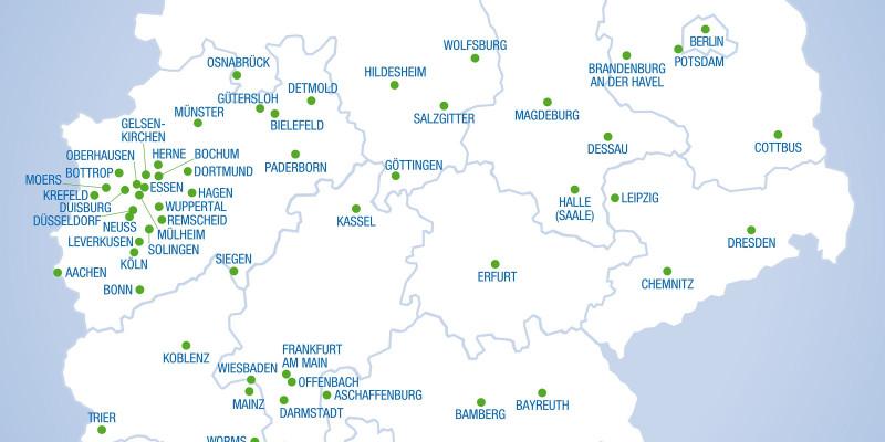 Deutschlandkarte mit den 90 teilnehmenden Städten