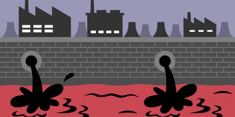 Grafische Darstellung einer Industrielandschaft, die Abwasser in den Fluss einleitet