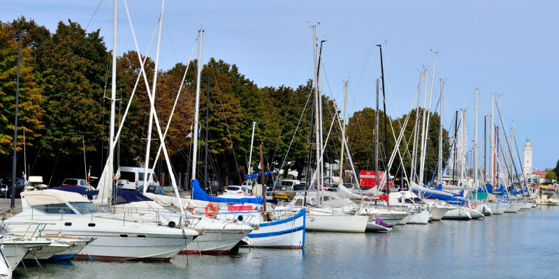 little sailing boats and motorboats in a marina