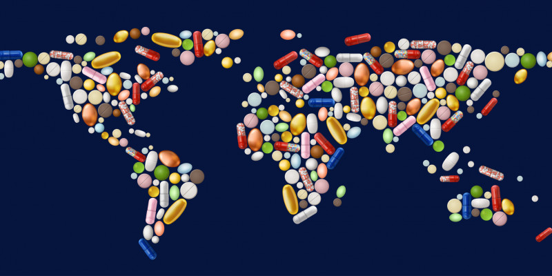 World map of pills