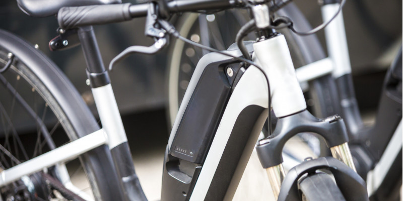 Electric bicycle in black and white colour