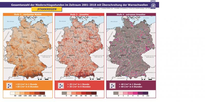 Abbildung 8: Gesamtsumme der Niederschlagsstunden im Zeitraum von 2001 bis 2018, in denen die Warnschwellen des DWD überschritten wurden (Datenbasis bilden die quantifizierten Niederschlagsanalysen der Daten des Wetterradarverbunds und der automatischen Ombrometer sowie der bereits eingebundenen Partnermessnetze der Bundesländer)