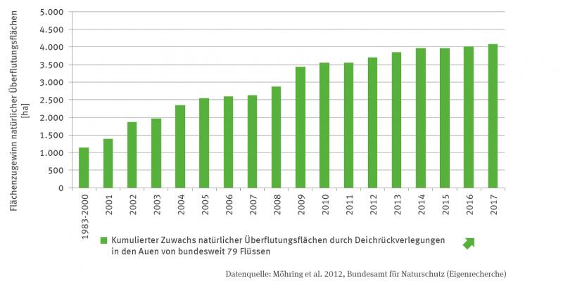 Das Säulendiagramm stellt die Rückgewinnung natürlicher Überflutungsflächen durch Deichrückverlegung von 1983/2000 bis 2017 dar. Für 2017 wird eine kumulierte Fläche von etwa mehr als 4000 Hektar ausgewiesen. Die Zeitreihe zeigt einen signifikant steigenden Trend.